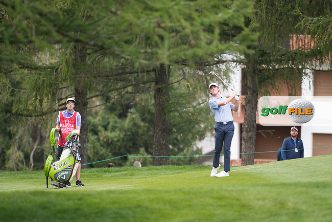 Renato Paratore (ITA) in action on the 5th hole during final round at the Omega European Masters, Golf Club Crans-sur-Sierre, Crans-Montana, Valais, Switzerland. 01/09/19.<br /> Picture Stefano DiMaria / Golffile.ie<br /> <br /> All photo usage must carry mandatory copyright credit (© Golffile   Stefano DiMaria)
