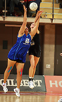 07.08.2010 Silver Ferns Casey Williams and Samoa's Monika Fuimaono in action during the Silver Ferns v Samoa netball test match played at Te Rauparaha Arena in Porirua  Wellington. Mandatory Photo Credit ©Michael Bradley.