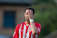Chris Eagles of Accrington Stanley holds his head during the Sky Bet League 2 match between Wycombe Wanderers and Accrington Stanley at Adams Park, High Wycombe, England on 16 August 2016. Photo by Andy Rowland.