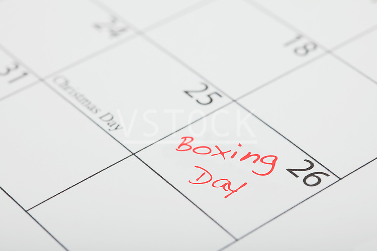 Close-up of calendar with Boxing Day marked