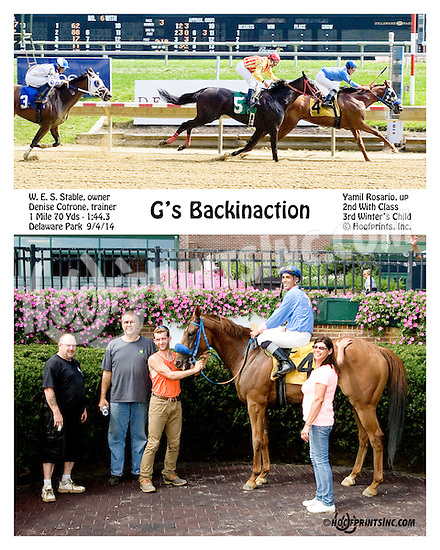 G's Backinaction winning at Delaware Park on 9/4/14