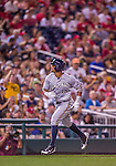 22 August 2015: Milwaukee Brewers outfielder Khris Davis in action against the Washington Nationals at Nationals Park in Washington, DC. The Nationals defeated the Brewers 6-1 in the second game of their 3-game weekend series. Mandatory Credit: Ed Wolfstein Photo *** RAW (NEF) Image File Available ***