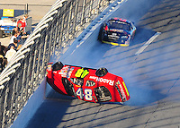 Feb 6, 2010; Daytona Beach, FL, USA; ARCA RE/MAX Series driver Jill George (48) flips over during the Lucas Oil Slick Mist 200 at Daytona International Speedway. Mandatory Credit: Mark J. Rebilas-