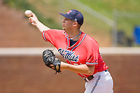 Relief pitcher Trent Rothlin #21 of the Ole Miss Rebels in action against the St. John's Red Storm at the Charlottesville Regional of the 2010 College World Series at Davenport Field on June 6, 2010, in Charlottesville, Virginia.  The Red Storm defeated the Rebels 20-16.  Photo by Brian Westerholt / Four Seam Images