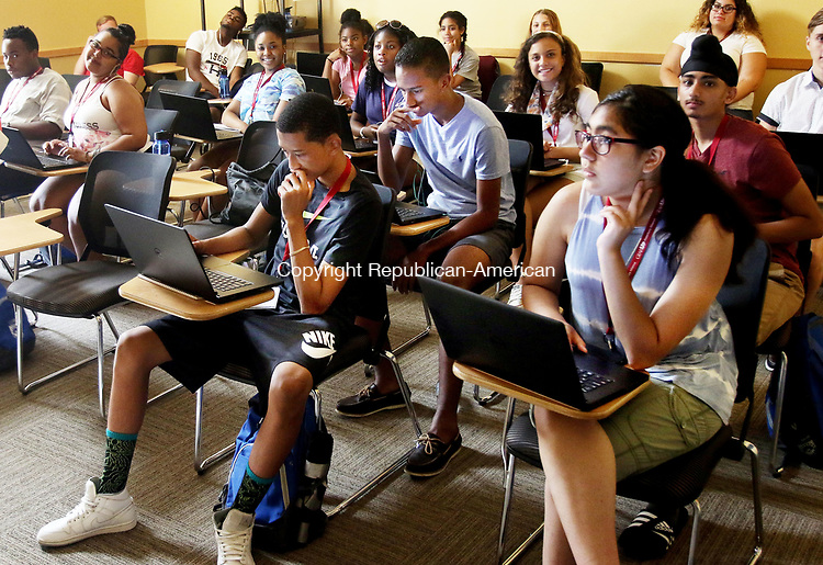 MIDDLETOWN CT. 12 July 2017-071217SV04-Waterbury high school students in GEAR-UP program work on an English project at Wesleyan University in Middletown Wednesday. The students stay on campus from Monday thru Friday to get a taste of college life. <br /> Steven Valenti Republican-American