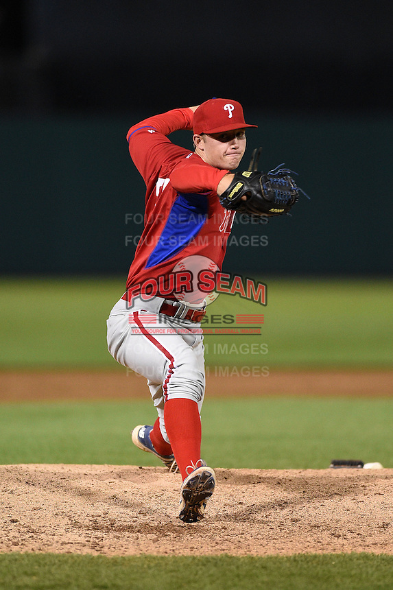 Andrew Miller (35) of Sterling High School in Stratford, New Jersey playing for the Philadelphia Phillies scout team during the East Coast Pro Showcase on July 31, 2014 at NBT Bank Stadium in Syracuse, New York.  (Mike Janes/Four Seam Images)