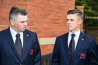 Caolan Rafferty  (GB&I) and Conor Purcell  (GB&I) during the opening ceremony at the Walker Cup, Royal Liverpool Golf CLub, Hoylake, Cheshire, England. 06/09/2019.<br /> Picture Fran Caffrey / Golffile.ie<br /> <br /> All photo usage must carry mandatory copyright credit (© Golffile | Fran Caffrey)