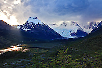 The Rio Fitz Roy flows from Laguna Torre at the base of Glacier Grande.  The base of Cerro Torre can be seen to the right.