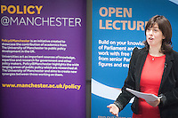 Photo: Wilkinson Photography.<br /> <br /> Policy@Manchester and the Parliamentary Outreach Service present the Lucy Powell (MP for Manchester Central) open Lecture on the work of a Shadow Minister, at the University of Manchester.<br /> The official opposition party appoints MPs and Members of the House of Lords to 'shadow' government ministers, in order to scrutinise the work of government. The lecture will provide insight into that shadowing role.<br /> Lucy Powell was elected MP for Manchester Central on 15 November 2012. She served as Shadow Minister for Education from 2013 to 2014 and is currently Shadow Minister for the Cabinet Office. Prior to entering Parliament, Lucy worked for the National Endowment for Science, Technology and the Arts (NESTA).