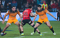 Jaguares' Agustin Creevy and Jaguares' Nahuel Tetaz Chaperro line up Crusaders' David Havili during the 2019 Super Rugby final between the Crusaders and Jaguares at Orangetheory Stadium in Christchurch, New Zealand on Saturday, 6 July 2019. Photo: Dave Lintott / lintottphoto.co.nz