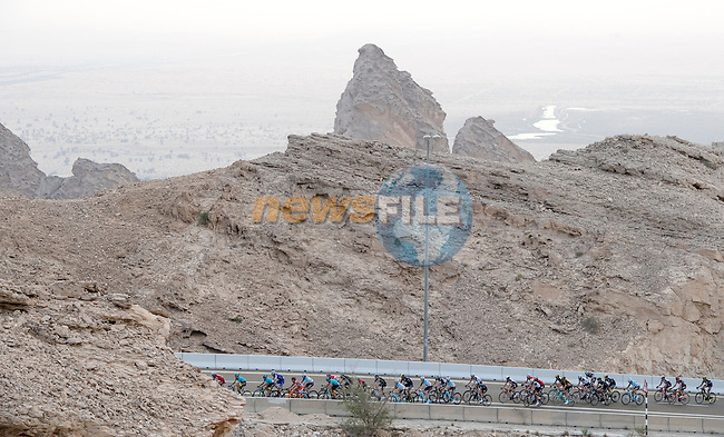 The peloton climb Jebel Hafeet near the end of Stage 3 Al Maryah Island Stage of the 2017 Abu Dhabi Tour, starting at Al Ain and running 186km to the mountain top finish at Jebel Hafeet, Abu Dhabi. 25th February 2017<br /> Picture: ANSA/Claudio Peri | Newsfile<br /> <br /> <br /> All photos usage must carry mandatory copyright credit (&copy; Newsfile | ANSA)
