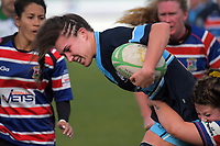Jessica Fagen-Pease is tackled during the 2019 Manawatu premier women's club rugby Prue Christie Cup final match between Feilding Old Boys Oroua and Kia Toa at CET Arena in Palmerston North, New Zealand on Saturday, 13 July 2019. Photo: Dave Lintott / lintottphoto.co.nz