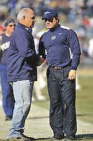 12 November 2011:  Penn State interim head coach Tom Bradley shakes hands with former PSU player Matt Suhey..The Nebraska Cornhuskers defeated the Penn State Nittany Lions 17-14 at Beaver Stadium in State College, PA.