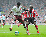 Sunderland's Nyron Nosworthy and Arsenal's Emmanuel Adebayor. during the Premier League match at the Stadium of Light, Sunderland. Picture date 21st May 2008. Picture credit should read: Richard Lee/Sportimage