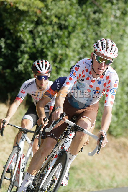 Polka Dot Jersey winner Romain Bardet (FRA) AG2R La Mondiale in action during the Criterium Castillon La Bataille 2019 the first criterium after the Tour de France held around Ville de Castillon-la-Bataille, France. 6th August 2019.<br /> Picture: Colin Flockton | Cyclefile<br /> All photos usage must carry mandatory copyright credit (© Cyclefile | Colin Flockton)