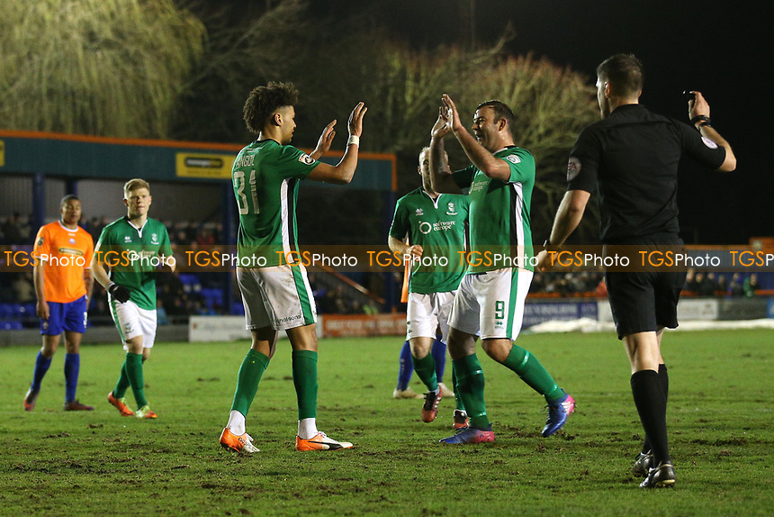Lee Angol of Lincoln City (31) scores the third goal for his team rom the penalty spot to complete his hat-trick during Braintree Town vs Lincoln City, Vanarama National League Football at the IronmongeryDirect Stadium on 7th March 2017