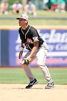 July 10th 2008:  Second baseman Matt Cavagnaro of the Hickory Crawdads, Class-A affiliate of the Pittsburgh Pirates, during a game at Classic Park in Eastlake, OH.  Photo by:  Mike Janes/Four Seam Images