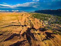 Moab, Utah in Moab Valley, La Sal Mountains beyond