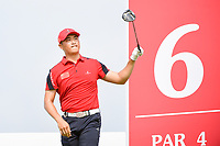 Zheng Kai BAI (CHN) watches his tee shot on 6 during Rd 3 of the Asia-Pacific Amateur Championship, Sentosa Golf Club, Singapore. 10/6/2018.<br /> Picture: Golffile | Ken Murray<br /> <br /> <br /> All photo usage must carry mandatory copyright credit (© Golffile | Ken Murray)