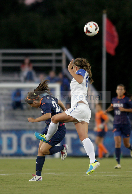 Senior midfielder Danielle Krohn tries to head the ball during the women's soccer game against the University of Texas San Antonio September 13, 2013 at the UK Soccer Complex in Lexington, Ky.
