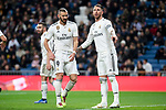 Karim Benzema and Sergio Ramos of Real Madrid during La Liga match between Real Madrid and Rayo Vallecano at Santiago Bernabeu Stadium in Madrid, Spain. December 15, 2018. (ALTERPHOTOS/Borja B.Hojas)