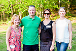 Watertown, CT- 18 May 2017-051817CM19- SOCIAL MOMENTS-- From left, Paula Labonte, Jim O'Rourke, Angie Matthis and Brandi Fitzgerald all with the Greater Waterbury YMCA, are photographed during the annual Greater Waterbury Campership Fund picnic at Camp Mataucha in Watertown on Thursday.   Christopher Massa Republican-American