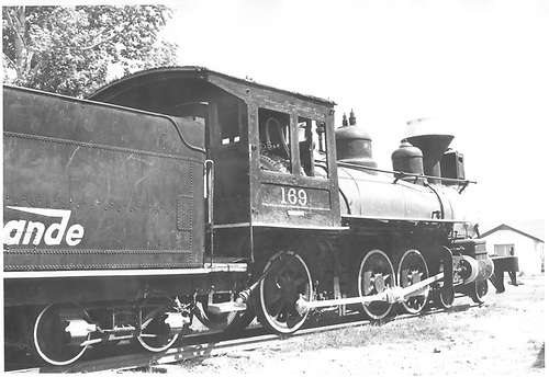 Engine #169 in a park in Alamosa, CO.<br /> D&amp;RGW  Alamosa, CO  Taken by Schnepf, Ted - 6/1971