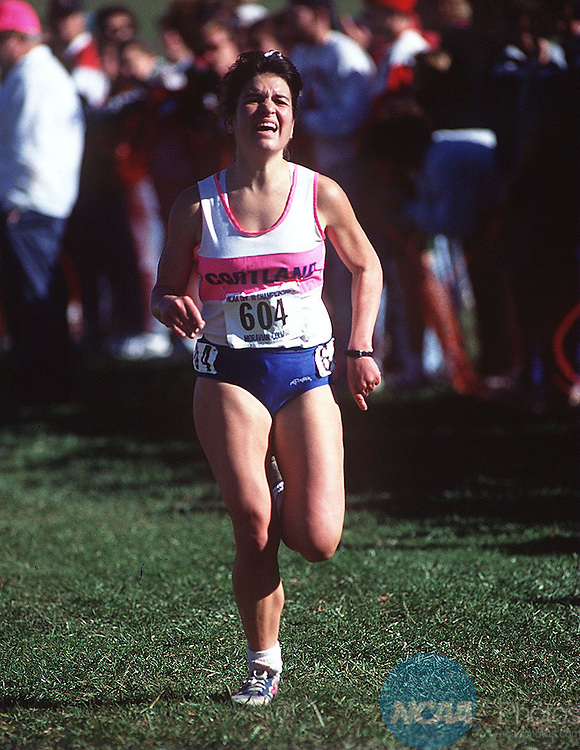 Caption:  Michelle LaFleur of Cortland State on her way to winning the Division III Womenâ Cross Country Championship November 19, 1994, in Bethlehem, Pennsylvania with a time of 17:47.2. Douglas Benedict/NCAA Photos.
