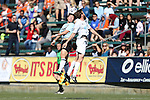 08 March 2015: E-Land's Lee Jae-An (KOR) (left) and Carolina's Connor Tobin (right) challenge for a header. The Carolina RailHawks of the North American Soccer League played Seoul E-Land FC of the K-League Challenge at WakeMed Stadium in Cary, North Carolina in a 2015 preseason friendly for both clubs. The game ended in a 0-0 tie. Afterwards, Seoul E-Land won a penalty kick shootout 5-4.