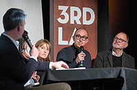 "From left: Occidental College Professor of Practice and Chief Design Officer for the City of L.A. Christopher Hawthorne; Helen Leung and Elizabeth Timme of LA Más; landscape architect and urban designer Christopher Torres and architect Frederick Fisher.<br /> Occidental College's 3rd LA (Re)Designing LA series kicks off for this year at the Barnsdall Gallery Theater, next door to Frank Lloyd Wright's 1921 Hollyhock House, on March 6, 2019. Hosted by Oxy Professor of Practice and Chief Design Officer for the City of Los Angeles Christopher Hawthorne, guest speakers and panelists discussed ""Is There an L.A. Sensibility? Place and Politics in Los Angeles Design.""<br /> 3rd LA is co-sponsored by Occidental, the Mayor's Office and the Los Angeles Department of Cultural Affairs.<br /> (Photo by Marc Campos, Occidental College Photographer)"