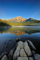 Pyramid Mtn reflected in Pyramid Lake<br /> Jasper National Park<br /> Alberta<br /> Canada