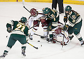 Amanda Pelkey (UVM - 21), Dana Trivigno (BC - 8), Casey Leveillee (UVM - 5), Kate Leary (BC - 28), Gina Repaci (UVM - 13) - The Boston College Eagles defeated the visiting University of Vermont Catamounts 2-0 on Saturday, January 18, 2014, at Kelley Rink in Conte Forum in Chestnut Hill, Massachusetts.