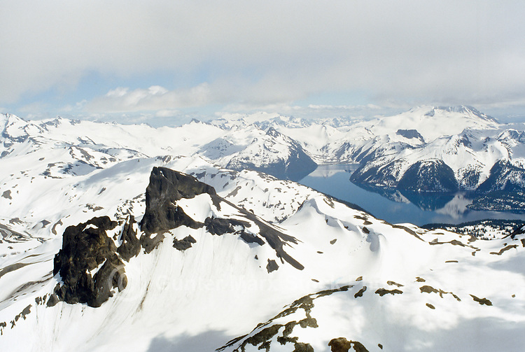 Black Tusk and Garibaldi Lake, Garibaldi Provincial Park, near Whistler, BC, British Columbia, Canada - Aerial View of Coast Mountains