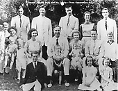 United States Senator Prescott Bush (Republican of Connecticut), center,  and his family.  His son, future United States George H.W. Bush (41st President) is in the back row at left, and his grandson, future United States President George W. Bush is the young boy farthest at the left.  Barbara Bush, wife of George H.W. Bush is the woman farthest at left.  Son Neil Bush is on Barbara's lap and future Florida Governor John (Jeb) Bush is the young boy in shorts at left. .Credit: White House via CNP