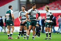 Leicester Tigers players look dejected after the match. European Rugby Champions Cup semi final, between Leicester Tigers and Racing 92 on April 24, 2016 at The City Ground in Nottingham, England. Photo by: Patrick Khachfe / JMP