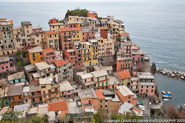 Manarola is one of the five cities in the popular tourist destination area called the Cinque Terre in northern Italy.