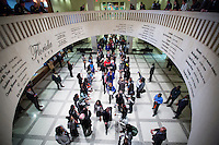 TALLAHASSEE, FLA. 3/4/14-Members of the Florida Senate walk down an aisle formed by members of the Dream Defenders as they move from the Senate Chamber to the House for Gov. Rick Scott's State of the State address during the opening day of the legislative session, March 4, 2014 at the Capitol in Tallahassee. The Dream Defenders protested outside both chambers as they continue to push for repeal of the stand your ground law.<br /> <br /> COLIN HACKLEY PHOTO