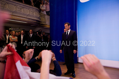 Paris, France.May 6, 2007..Conservative UMP Leader and French Presidential candidate Nicolas Sarkozy and his supporters celebrate victory in the Second Round of the French Presidential Elections at a party held at Salle Gaveau. 85% of French voters turned out to elect Sarkozy as their next President ahead of socialist candidate Segolene Royal. Sarkozy claimed 53% of the vote.....
