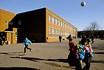 Secondary School 1990s UK. Students playing football in playground during the lunch break  Greenford High School, Middlesex  London 1990