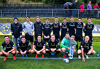 Team Wellington poses for a group photo after the 2019 OFC Champions League quarter final football match between Team Wellington and Henderson Eels at David Farrington Park in Wellington on Sunday, 7 April 2019. Photo: Dave Lintott / lintottphoto.co.nz