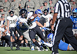 November 4, 2017:  Army West Point running back, Kell Walker #5, battles for extra yardage during the NCAA Football game between the Army West Point Black Knights and the Air Force Academy Falcons at Falcon Stadium, United States Air Force Academy, Colorado Springs, Colorado.  Army West Point defeats Air Force 21-0.