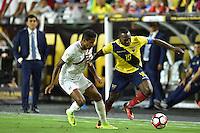 Glendale, AZ - Wednesday June 08, 2016:  Peru midfielder Andy Polo (8) and Ecuador forward Jaime Ayoví (17) during a Copa America Centenario Group B match between Ecuador (ECU) and Peru (PER) at University of Phoenix Stadium.