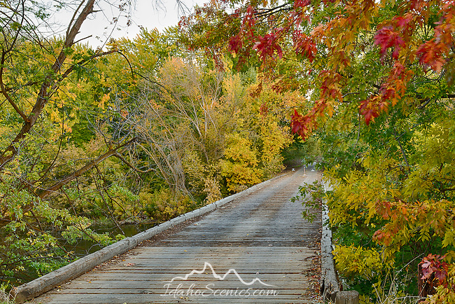 Idaho, Southwest, Boise, Fruitland. A private drive over the Boise River in autumn.