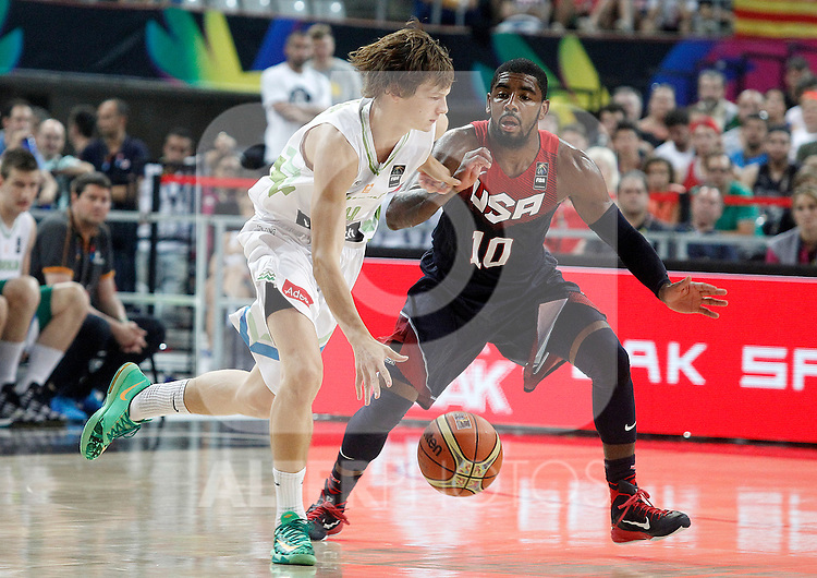 Slovenia's Jure Balazic (l) and USA's Kyrie Irving during 2014 FIBA Basketball World Cup Quarter-Finals match.September 9,2014.(ALTERPHOTOS/Acero)