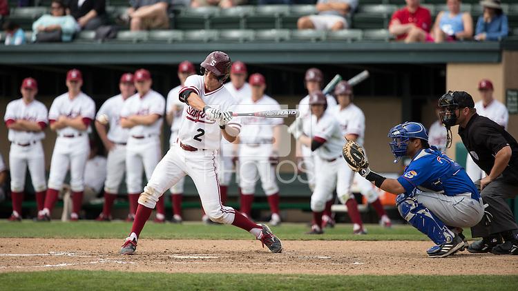 STANFORD, CA - March 9, 2014: Stanford vs Kansas at Klein Field, Sunken Diamond Stadium.  Stanford won 1-0.