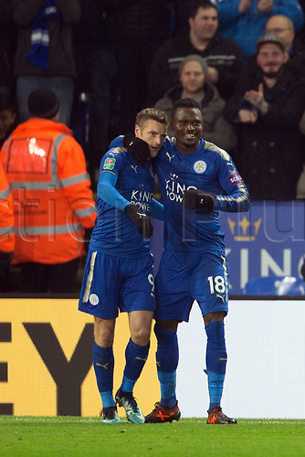 19th December 2017, King Power Stadium, Leicester, England; Carabao Cup quarter-final, Leicester City versus Manchester City; Jamie Vardy of Leicester City celebrates his penalty goal in the 90th +7  minute to make it 1-1 with Daniel Amartey of Leicester City