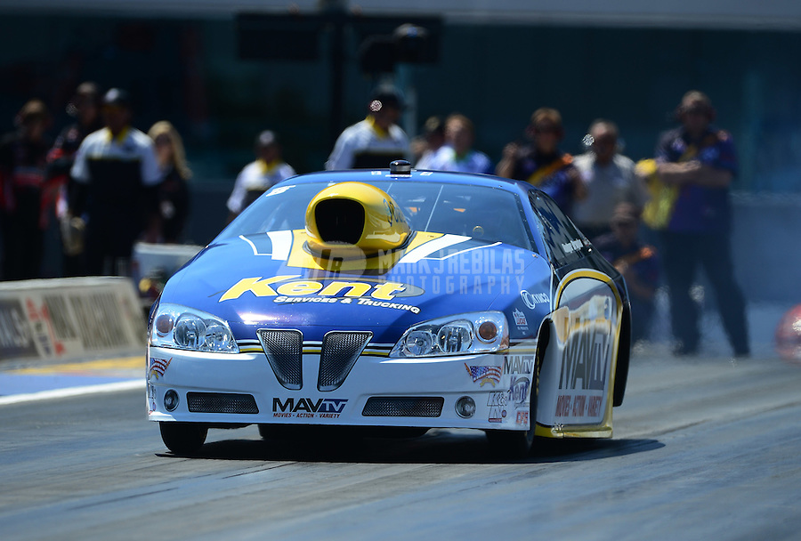 Apr. 13, 2012; Concord, NC, USA: NHRA pro stock driver Rodger Brogdon during qualifying for the Four Wide Nationals at zMax Dragway. Mandatory Credit: Mark J. Rebilas-