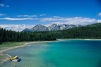 Float plane on Como lake, near Atlin, British Columbia, Canada