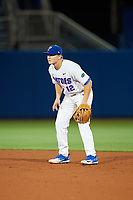 Florida Gators second baseman Blake Reese (12) during a game against the Siena Saints on February 16, 2018 at Alfred A. McKethan Stadium in Gainesville, Florida.  Florida defeated Siena 7-1.  (Mike Janes/Four Seam Images)