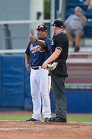 Danville Braves manager Robinson Cancel (38) argues a call with home plate umpire Mike Snover during the game against the Pulaski Yankees at American Legion Post 325 Field on July 31, 2016 in Danville, Virginia.  The Yankees defeated the Braves 8-3.  (Brian Westerholt/Four Seam Images)